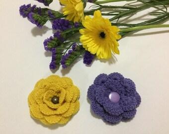 Crochet flowers, crochet appliqués, stocking stuffers,flower appliqués, embellishments, Set of two Flowers