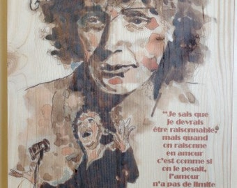 Edith Piaf. Watercolour on wood.