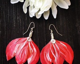 Hand Painted Leather | Red Burlesque Earrings