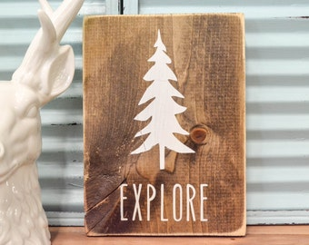 Woodland Nursery Decor | Rustic Decor | Cottage Home Decor | Wood Sign | Country Home | Wall Hanging | Childrens Room Decor | Explore Decor