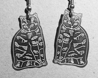 Whimsical Cats Etched .925 Sterling Silver Waiting to enjoy your ears. Sterling Silver French ear wires