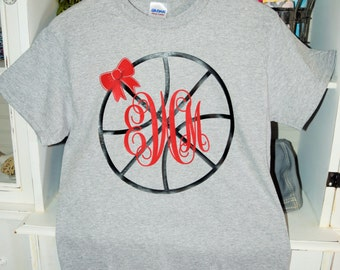 Girls/Ladies Monogrammed Basketball T-Shirt