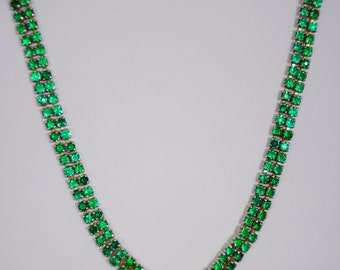 Vintage Necklace Emerald Green with clasp, circa 1930's faceted prong stones