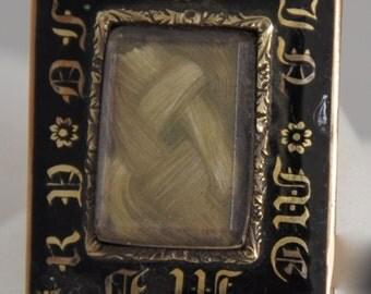 Antique Victorian Mourning Hair Pendant, black enamel gold filled 1850