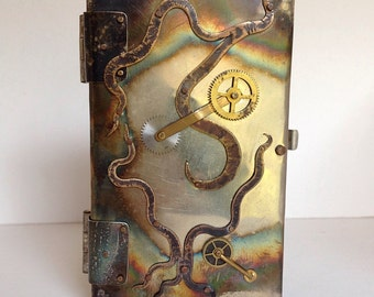 Steampunk business card case