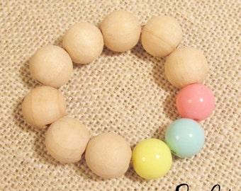 Wood Bead Bracelet, Beaded Bracelet, Birthday Party Favors, Stretch Bracelet, Plastic Bracelets