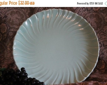 "End Of Summer SALE Franciscan Ware Aqua Turquoise 11.5"" Round Chop Plate or Platter - Coronado Swirl Pattern"