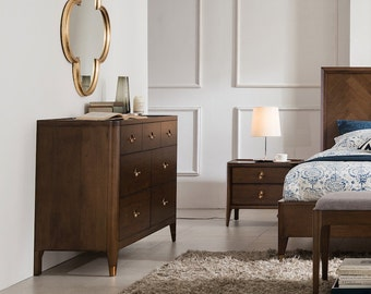 Walnut Mid Century 7 Drawer Dresser, Mid Century Storage Dresser -Ekais BQ Line