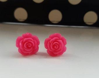 Bright Pink Rose Stud Earrings