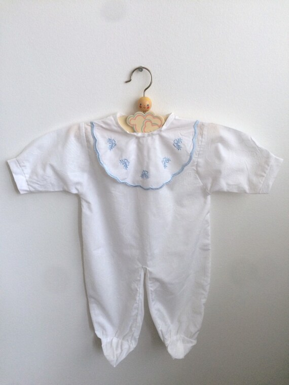 Scandinavian Vintage 80s Baby Boy Romper With A By