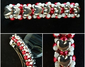 Valentine Barrette...wire wrapped with silver hearts and red, white and silver beads.