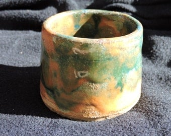 Hand thrown pottery ceramic tea cup- Emerald, jade, and tangerine