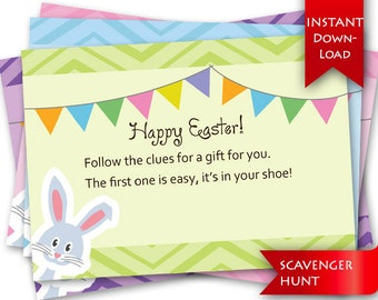 On Sale! Easter Scavenger Hunt   Rhyming clues and blank template to add/edit your own clues {instant download}