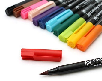 SET - 12pcs - 12 Colors - SAKURA Koi - Watercolor - Coloring Brush Pen - Calligraphy Pen - Art Brush Pen - Scrapbooking Coloring Pen