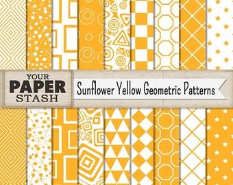 Geometric Digital Paper, Yellow, Sunflower Yellow, Goldenrod, Geometric, Digital Paper Pack, Star, Scrapbook Paper, Commercial Use, Diamond