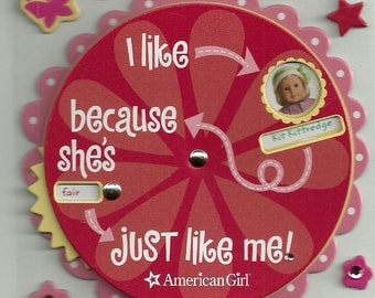 AMERICAN GIRL STICKERS / Historical Doll Spinner Sticker / Felicity - Molly - Kit- Samantha / Scrapbooking
