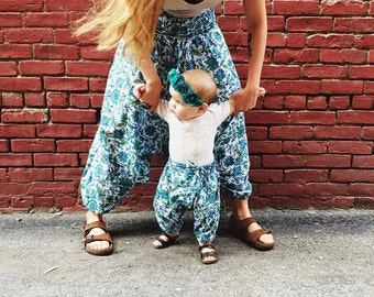 18-24 Months, Block printed cotton harem pants, hippie baby, bohemian baby shower gift  boho baby pant, floral aztec baby, gypsy pant,