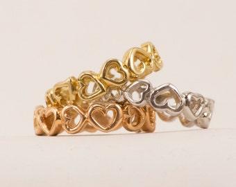Handmade 14K Gold Heart Stackable Ring