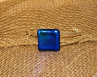 Dichroic Blue Bracelet, silver