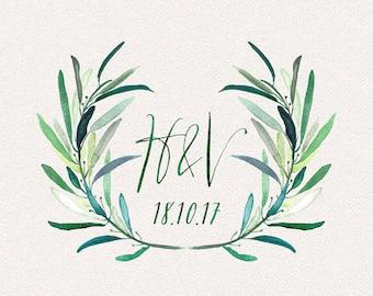 Wedding Monogram | Held | Wedding Logo, DIY wedding, wedding initials, printable wedding, wreath monogram, leaves monogram, painted
