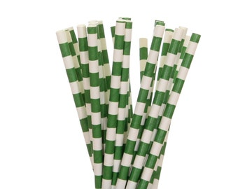 Paper Straws, Green Rugby Horizontal Striped Straws, Graduation Straws, School Party Straws, Christmas Straws, St. Patrick's Day Paper Straw