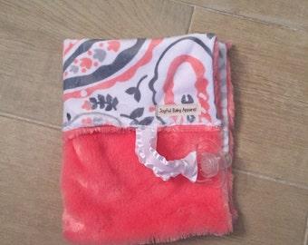 coral paisley minky binky blanket, pacifier blanket