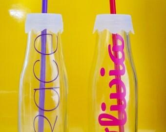 Milk Bottle Name Glass