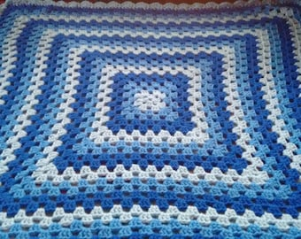 Three shades of Blue Crocheted Granny Square Baby Blanket