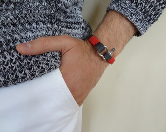 EXPRESS SHIPPING,Men's Dark Grey Leather Bracelet,Men's Jewelry,Crome Screw Clasp Bracelet,Cuff Bracelet,Gift for Him,Father's Day Gifts
