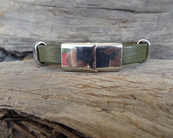 EXPRESS SHIPPING,Men's Olive Green Leather Bracelet, Men's Jewelry, Chrome Magnetic Clasp Bracelet, Men's Cuff Bracelet, Father's Day Gifts