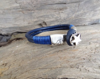 EXPRESS SHIPPING,Men's Star Bracelet, Navy Blue Leather Bracelet, Symbol Cool Bracelet, Cuff Bracelet, Father's Day Gifts