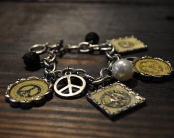 Charm Bracelet, Peace Bracelet, Peace Sign, Hippie, Enamel, Silver Tone, Unique, Trendy, Boho Chic