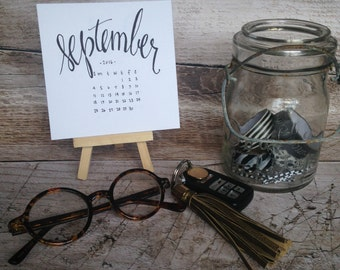 18-Month 2016-2017 Small Hand Lettered Calendar with Easel