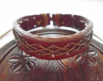 Brown Leather Unique Handmade Adjustable Bracelet