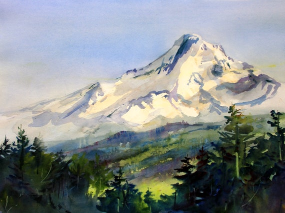 Mt. Hood 248 - signed print of a watercolor painting by Columbia Gorge painter, Bonnie White