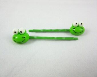 Kids Green Frog Hair Pins Handmade 8mm Bobby Pins Barrettes