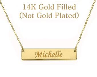 Sale Personalized Name Necklace, Gold Bar Necklace, Custom Name, Kim Kardashian style Nameplate, Monogram Necklace, Bridesmaid Gift