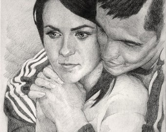 Custom Couple Portrait Wedding Anniversary Gift For Her For Him Couple Pencil Drawing Romantic Gift Personalized Gift Art Sketch From Photo