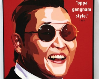 PSY Oppa gangnam style Art Decals Quotes Inspirational Motivational Singer Acrylic Canvas Prints Framed Ready to hang