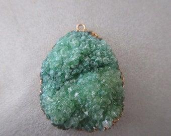 Green Agate Druzy Geode Pendant 1pc