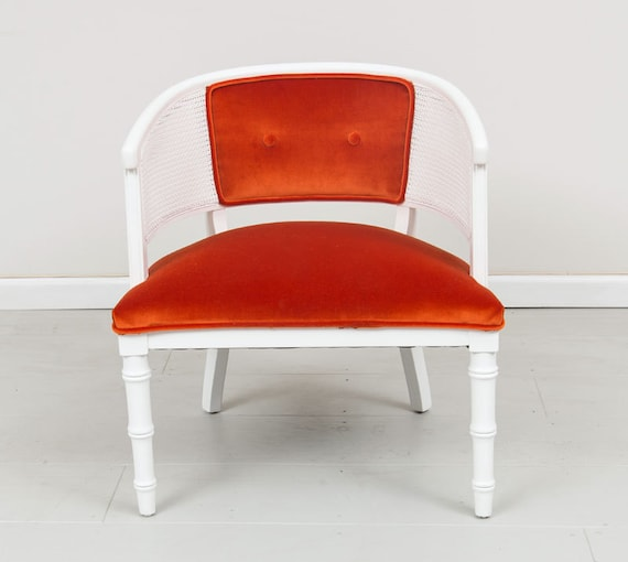 Painted Wicker white chair with New orange Upholstery