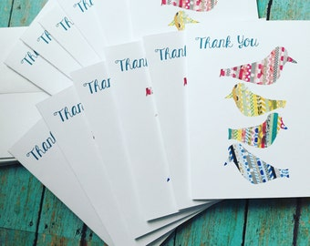 Little Birdies Thank You Notecards & Envelopes Set of 10 or 12