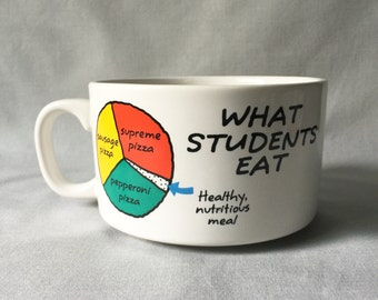 Comic Ceramic Soup Bowl // Ceramic Bowl // Student Ceramic Bowl // Vintage Kitchen Decor // Vintage Soup Bowl // Student Life (B6)