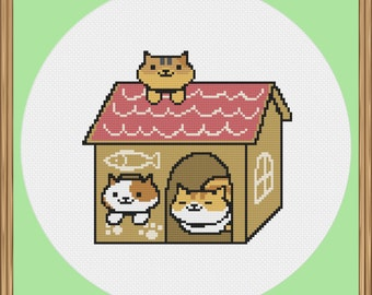 Neko Atsume Cat Cross Stitch Pattern (Patches, Princess and Pumpkin) PDF Download