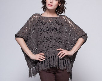 Fringe Crochet Flower Poncho with Sleeves