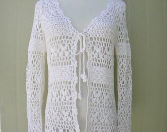 White Crochet Open Cardigan Tie Front
