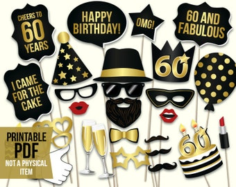 60th birthday photo booth props: printable PDF. Black and gold Sixtieth birthday party supplies. Instant download Mustache, lips, glasses