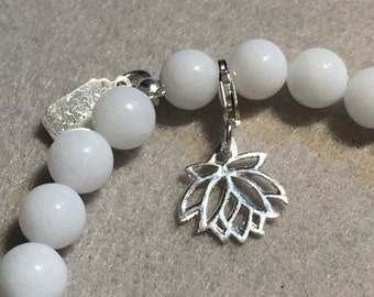 Silver charm for bracelet - lotus flower