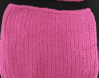 Raspberry Knit Headband and Cowl Scarf Set