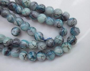 """68 Glass Beads, Swirled Turquoise, Aqua, Gray, and Black, 6mm Round, 15.5"""" Strand"""